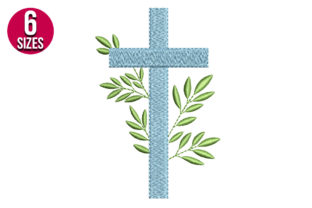 Print on Demand: Cross with Leaves Religion & Faith Embroidery Design By Nations Embroidery