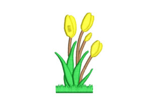 Flowers Tulips Bouquets & Bunches Embroidery Design By Embroiderypacks