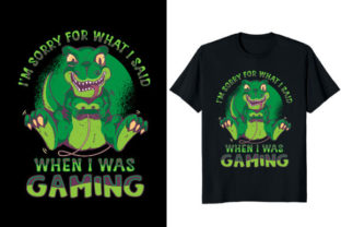 Print on Demand: I Was Gaming Dinosaur T-shirt Design Graphic Print Templates By At Merch Tees