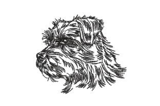 Terrier Dog Dogs Embroidery Design By sketch2stitch