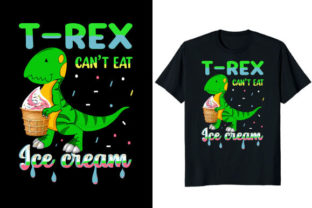 Print on Demand: T-rex Can't Eat Ice Cream Dinosaur Graphic Print Templates By At Merch Tees