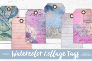 Print on Demand: Watercolor Collage Gift Tags Graphic Objects By Digital Attic Studio