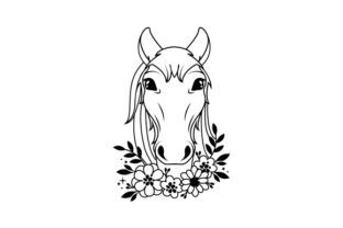 Floral Horse Line Art Animals Craft Cut File By Creative Fabrica Crafts