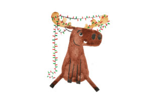 Watercolor Style Moose Wrapped in Christmas Lights Animals Craft Cut File By Creative Fabrica Crafts