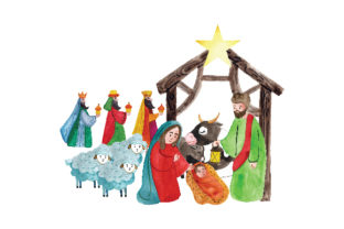 Watercolor Style Nativity Scene Religious Craft Cut File By Creative Fabrica Crafts