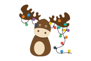 Moose Wrapped in Christmas Lights Christmas Craft Cut File By Creative Fabrica Crafts