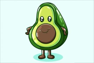 A Cute Avocado Illustration Graphic Illustrations By neves.graphic777