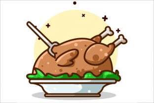 A Whole Roasted Chicken Illustration Graphic Illustrations By neves.graphic777