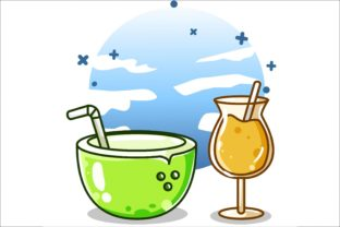 A Young Coconut Ice and Orange Juice Graphic Illustrations By neves.graphic777