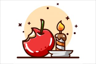 Apple with Candle Illustration Graphic Illustrations By neves.graphic777