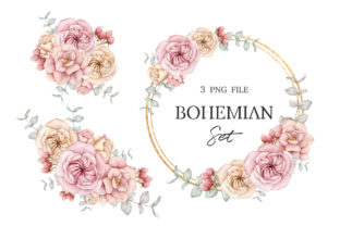 Boho Floral Clipart, Wreath and Bouquets Graphic Illustrations By SipkaDesigns