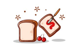 Breads and Jam Vector Illustration Graphic Illustrations By neves.graphic777