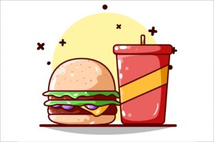 Burger and Soft Drink Illustration Graphic Illustrations By neves.graphic777