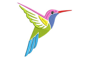 Colored Hummingbird Birds Embroidery Design By Embroiderypacks