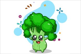 Cute Broccoli Illustration Hand Drawing Graphic Illustrations By neves.graphic777