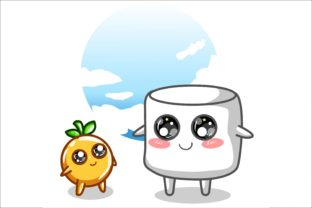 Cute Marshmallow and Orange Hand Drawing Graphic Illustrations By neves.graphic777