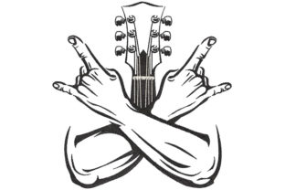 Print on Demand: Guitar Thumbs Up Music Embroidery Design By Embroidery Shelter