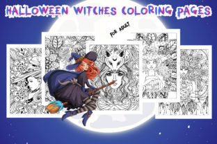 Halloween Witches Coloring Pages Graphic Coloring Pages & Books Adults By Artist Zone
