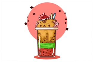 Illustration of Cat Shaped Ice Cream Graphic Illustrations By neves.graphic777