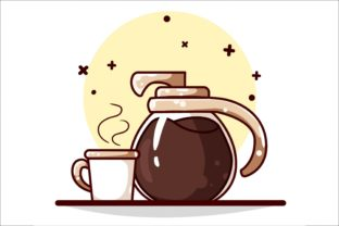 Kettle and Coffee Cup Illustration Graphic Illustrations By neves.graphic777
