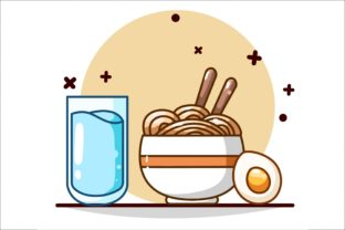 Mineral Water, Noodles and Egg Graphic Illustrations By neves.graphic777