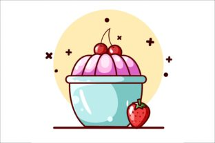 Pudding with Cherries and Strawberry Graphic Illustrations By neves.graphic777
