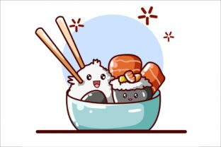 Sushi and Meats Illustration Vector Graphic Illustrations By neves.graphic777