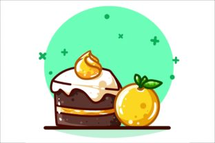 Sweet Orange and Brownie Cake with Cream Graphic Illustrations By neves.graphic777