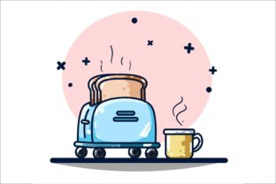 Toaster and Coffee Machine Graphic Illustrations By neves.graphic777