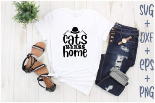 Print on Demand: Cats Bless Home Graphic Print Templates By Creative_Artist
