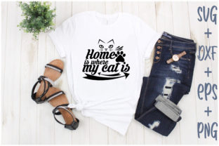 Print on Demand: Home is Where My Cat is Graphic Print Templates By Creative_Artist