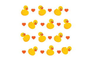 Rubber Duck and Hearts Pattern Designs & Drawings Craft Cut File By Creative Fabrica Crafts