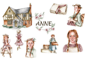 Anne from Green Gables Watercolor Set Graphic Objects By ArtsByLeila