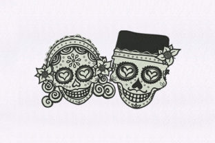 Bride and Groom Skull Halloween Embroidery Design By StitchersCorp