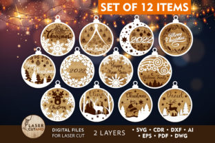 Print on Demand: Bundle CHRISTMAS ORNAMENTS Craft Files Graphic 3D SVG By LaserCutano