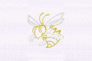 Female Honey Bee Bugs & Insects Embroidery Design By StitchersCorp