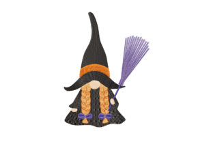 Print on Demand: Halloween Gnome Girl in Witch Dress Halloween Embroidery Design By EmbArt