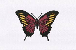 Red Orange Butterfly Bugs & Insects Embroidery Design By StitchersCorp