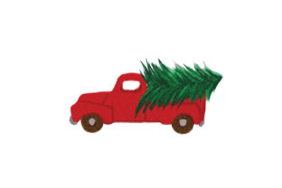 Watercolor Farmhouse Truck Carrying a Christmas Tree Christmas Craft Cut File By Creative Fabrica Crafts