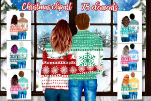 Print on Demand: Christmas Couples Clipart Xmas Scenery Graphic Illustrations By LeCoqDesign