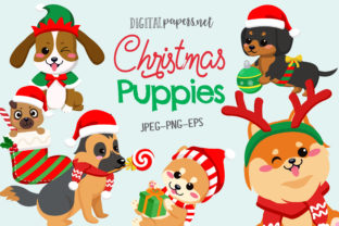 Print on Demand: Christmas Puppies Graphic Illustrations By DigitalPapers