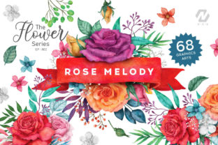Print on Demand: Rose Flower Watercolor Colorful Arts Graphic Illustrations By nesdigiart