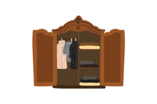 Old-fashioned Wardrobe with Fur Coats Beauty & Fashion Craft Cut File By Creative Fabrica Crafts