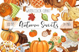 Autumn Sweets and Drinks Graphic Illustrations By KaleArtCreative