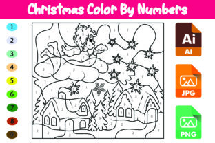 Christmas Color by Numbers for Kids (11) Graphic Coloring Pages & Books Kids By Das_Design