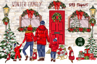 Print on Demand: Christmas Clipart FAMILY CLIPART Winter Graphic Illustrations By ElenaZlataArt