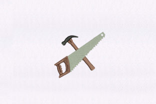 Hammer and Saw Tools Work & Occupation Embroidery Design By StitchersCorp