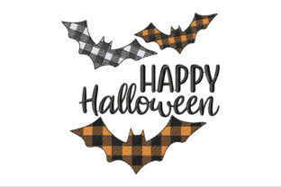 Happy Halloween with Plaid Bats Halloween Embroidery Design By ArtDigitalEmbroidery