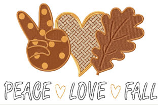 Peace Love Fall  Heart and Leaf Herbst Stickdesign von ArtDigitalEmbroidery