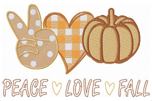 Peace Love Fall Heart and Pumpkin Autumn Embroidery Design By ArtDigitalEmbroidery